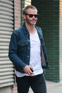 'Star Trek' actor Chris Pine was all smiles while out and about in the East Village of New York City. Pine was sporting a rocker look in a denim jacket and plain white tee during his evening outing.