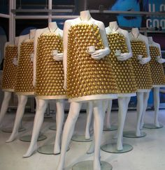 A dress made with Nespresso capsules by Con'Fetti an advertising factory based in Rotterdam.