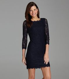 Navy Blue Lace Dress from Adrianna Papell