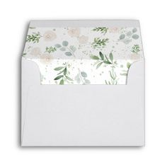 Shop Size Greenery and white blush Envelope created by DailyMiracles. Personalize it with photos & text or purchase as is! A2 Envelopes, Custom Printed Envelopes, Note Cards, Thank You Cards, Envelope Sizes, Small Cards, Wedding Stationery, Colorful Backgrounds, Greenery
