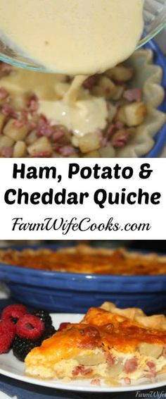 Perfect quiche recipe for the meat and potato lover in your family. Ham, Potato and Cheddar Cheese Quiche