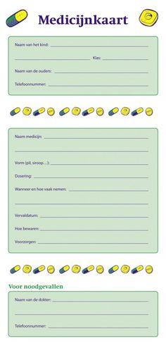 Invulkaart voor medicatie op school