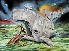 """White Whale...Herman Melville's Moby Dick Wind up Toy Heart of the Sea Watercolor Painting Illustration 8 1/2 X 11 art Print... Teacher or Student Gift. """"Moby Dick seeks thee not. It is thou, thou, that madly seekest him!"""" -Starbuck Using acid free HEAVY natural Cougar cover stock and brilliant high quality inks, this reproduction will last a lifetime. Scanned at high resolution it looks exactly like the original (Shown here at much lower resolution.) No matt or frame is included. 8.5 X…"""