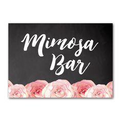 Wedding Sign Rustic Chalkboard Watercolor Flowers - Mimosa Bar - Instant Download Printable - Style 8 - 5x7