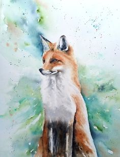 Original watercolor painting on A3 size paper. Watercolours, Watercolor Paintings, Multimedia Arts, A3 Size, Gouache, Serenity, Fox, Birds, Texture