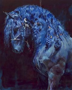 Paint by Numbers Kit-The Blue Horse Blue Horse, Black Horses, Brown Horse, All The Pretty Horses, Beautiful Horses, Horse Artwork, Blue Artwork, Horse Drawings, Animal Paintings