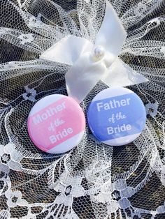 The Mother & Father of the Bride, Muffin ink Wedding badges
