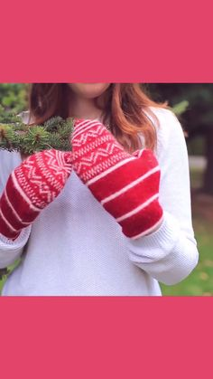 DIY Upcycled Mittens - Turn an old sweater into these super warm, and adorable, mittens