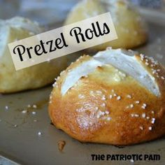 Pretzel rolls 1 1/3 cups warm water (110 degrees F) 2 tbsp warm milk 2 1/2 tsp active dry yeast 1/2 cup packed light brown sugar 2 tbsp melted butter 4 cups all purpose flour 2 tbsp white sugar Parboiling: 2 quarts water 1/2 cup baking soda Topping: 1 large egg (scramble in small bowl and set aside) 1/4 cup kosher salt