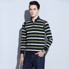 Zipper Fly Stand Up Collar Patchwork Shoulder Fashion Leisure Polo Shirts for Men Long Sleeve Striped Camisa Polo