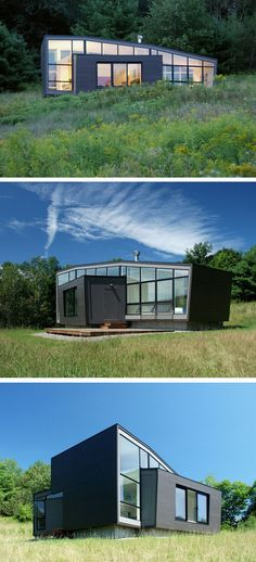 A SMALL WEEKEND HOUSE IN THE HILLS - Architect David Jay Weiner designed this home, as a response to a client's desire to build a small weekend house in Rensselaer County, New York, with southern views overlooking the Berkshire Hills.