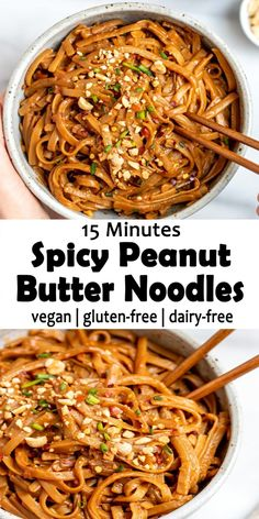 15 Minutes Spicy Peanut Butter Noodles Recipe Spicy Peanut Butter Noodles this is vegan, gluten-free, dairy-free and simple to whip up and packed with tasty peanut flavor. Easy to make only 15 minutes you'll get delicious flavour peanut noodles. Noodle Recipes, Spicy Recipes, Meat Recipes, Pasta Recipes, Vegetarian Recipes, Cooking Recipes, Recipe Pasta, Grilling Recipes, Vegetable Recipes