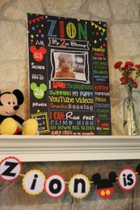About me poster. Mickey themed party.