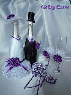 wedding bottle decoration,decorative bottles,bride and groom wine bottle covers,pimped bottles wedding,wedding decoration Bridal Wine Glasses, Wedding Glasses, Wedding Wine Bottles, Champagne Bottles, Decorated Wine Glasses, Painted Wine Glasses, Wine Bottle Crafts, Bottle Art, Bottles And Jars