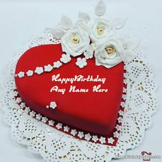 Write name on Heart Shaped Birthday Cake For Lover. This is the best idea to wish anyone online. Make everyone's birthday special with name birthday cakes and wishes.