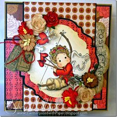 """Valentine's Day project using Magnolia stamps from Magnolia-licious by Sheri Willshire of TwitterpatedwithPaper  https://magnoliastamps.us/store2/pre-order-3078-tilda-with-heart-arrows-1/#crafts #cards """""""