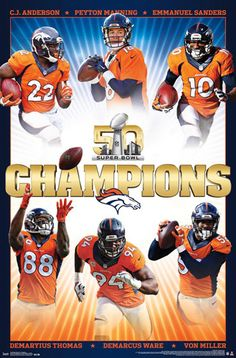 Denver Broncos Super Bowl 50 Champions 6-Player Commemorative Poster - Trends