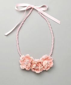 This Pink Pearl Flower Necklace by SBNY Petite is perfect! #zulilyfinds