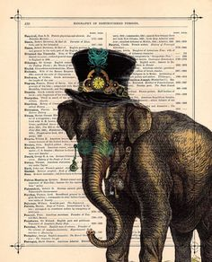 Antique Elephant Steampunk illustration