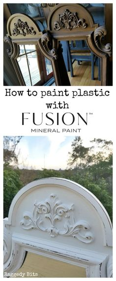 Sharing how easy it is to paint plastic with Fusion Mineral Paint and no prep needed, whether it's an old mirror, frame or a piece of furniture. Painting Plastic Furniture, Paint Furniture, Furniture Makeover, White Painted Furniture, Old Mirrors, Vintage Mirrors, Mineral Paint, Mineral Fusion Paint, Cool Diy Projects