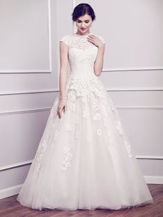 Jewel neckline cap sleeves lace bodice tulle skirt