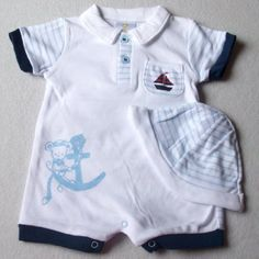Baby Boys Cute Summer Clothes - Newborn NB months - Adorable White and Blue Striped SAILOR MOUSE Short sleeved & short legged Romper Playsuit & Hat Outfit Set by Nursery Collection, http://www.amazon.co.uk/dp/B00CIBYCMG/ref=cm_sw_r_pi_dp_-EFWrb1051Q2P