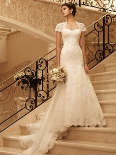 This lace wedding dress with cap sleeves and keyhole open back is gorgeous a Casablanca Bridal Design:: Collections