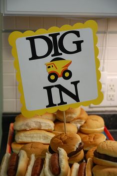 Dump Truck Buffet Sign, Construction Birthday, Little Digger Birthday, Dump Truck Party