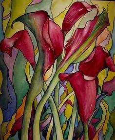 Line Dancing   (Watercolour) Helen Miles