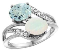 14k White Gold Aquamarine & Opal 2-stone Mother's by WorldJewels