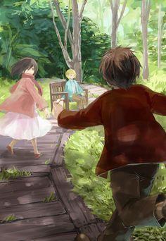 Eren, Mikasa and Armin.