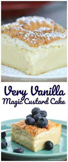 Very Vanilla Magic Custard Cake -Here's a wonderful dessert that will make you swoon with each lovely, vanilla bite! The cake I'm raving about is Very Vanilla Magic Custard Cake. It is creamy, yet cake-like and it literally makes your taste-buds do the happy dance and sing.
