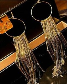 $5.74 The fll big European and American super exaggeration wild extra-long tassel earrings dress earrings