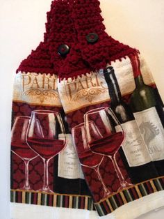 Wine towels Set of 2 NEW WINE crochet towel tops by CraftyJackys