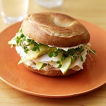 ~Turkey Bagel Sandwich~ 2 Tbsp cream cheese; 1 lightly toasted Bagel; 2 oz turkey breast lunch meat; 1 granny apple thinly sliced; 1 avocado thinly sliced; handful of alfalfa sprouts. Spread cream cheese on both sides of toasted bagel, layer the rest of ingredients. Enjoy.