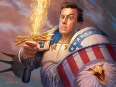Illustration of Stephen Colbert in Red, White & Blue armor and wielding a flaming sword