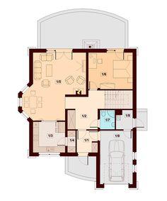 Rzut DN Modena CE Family House Plans, Dream House Plans, Small House Plans, Two Story House Design, House Front Design, Home Building Design, Building A House, Kerala House Design, Kerala Houses