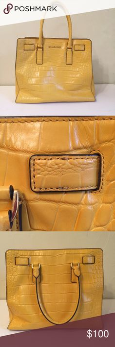 "Host Pick 💕 Dillon Croc Embossed Yellow Purse Dillon style Bag. Missing Keychain and detachable strap. Yellow color. Textured Embossed Reptile crocodile. Leather. Bag length: 13.5"" height: 12"" depth 5"" Drop 5"". Worn on arm, not on shoulder. No flaws on interior. Minor discoloration on underside of straps and rectangular accents on front. Retails $398. MICHAEL Michael Kors Bags Totes"