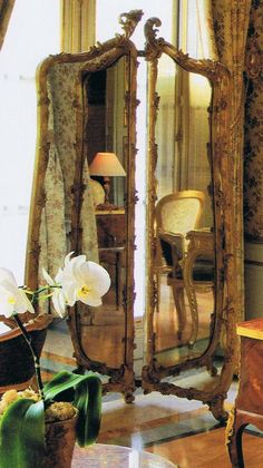 Douceur de vivre… « Trouvais Golden elements of the bedroom reflected in the rococo style free standing antique mirror… Decor, French Decor, Wall, Standing Mirror, Beautiful Mirrors, Through The Looking Glass, Vintage Mirrors, Mirror Wall, Mirror