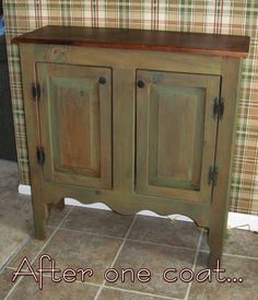 Country Hutch Project  Unfinished wooden hutch  Brown Shoe polish  some flat paint (for the wash)  and a rag...that's all you need.  <3