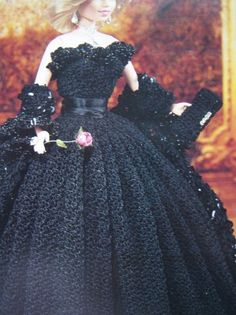 1997 Paradise crochet collector costume Barbie doll pattern. Princess Diana 1981 engagement ballgown, wrap, purse and shoes. Volume 48. Crocheted with
