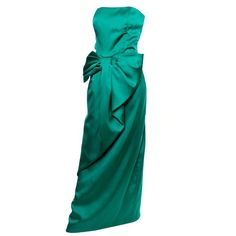 Victor Costa Vintage Dress Green Satin Strapless Evening Gown 1980s Bow 8/10 | From a collection of rare vintage evening dresses and gowns at https://www.1stdibs.com/fashion/clothing/evening-dresses/
