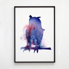 Bird print. Owl poster. Watercolor decor. Animal print.    Printed on high quality art paper.    SIZES:    8.3 x 11.7 (A4)  11.7 x 16.5 (A3)