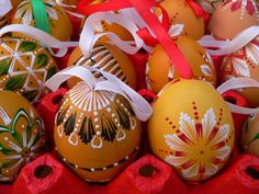 Hand painted (real) Easter eggs. Easter Market. Bratislava, Slovakia