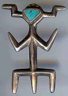 VINTAGE HOPI INDIAN CAST SILVER & INLAID TURQUOISE KACHINA CREATURE PIN