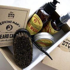 Medicine Man's Anti-Itch Beard Grooming Kit: Beard Wash, Oil, Beard & Mustache Pomade, Beard Brush - Stops Beard Itch & Beard Dandruff