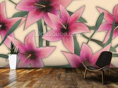 Pink Lilly wall mural in-room view