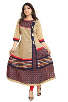 Greet exuberance in this Bright Beige Chanderi Silk Anarkali Kurti for Fashion Forward Women from the house of Snehal Creation. This round neck tunic is an abstract assembly of Printed fabrics and chanderi silk. The Tunic also has a number of pom pom accessories that line it in vertical fashion. Team it with a Contrast trays chudidaar.