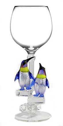 Penguins wine glass. $37.....omg I will buy this...need it in my life!!!!!