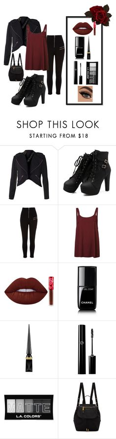 """""""Dark and Glamourous"""" by laney-6428 ❤ liked on Polyvore featuring River Island, Helmut Lang, Lime Crime, Chanel, Christian Louboutin, L.A. Colors and Marc Jacobs"""